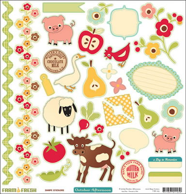 October Afternoon - Farm Fresh - 12x12 Shapes Sticker Sheet  (pack of 5)