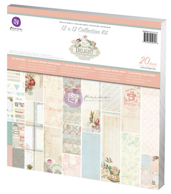 "Prima Marketing - Delight  12x12 Collection Kit  16 double sided 12""x12"" patterned papers- 1 type & tab sticker sheet-  journaling spot   2  Card Sheets  PREORDER2 (sold individually)"