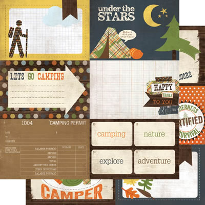 Simple Stories - Take a Hike - 4x6 Journaling Card Elements #1 12x12 d/sided paper  (pack of 10)
