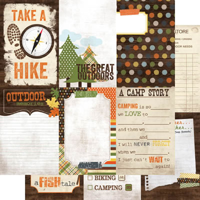 Simple Stories - Take a Hike - 4x6 Vertical Journaling Card Elements 12x12 d/sided paper  (pack of 10)