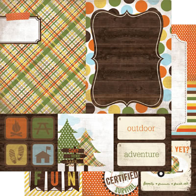 Simple Stories - Take a Hike - 4x4 Quote & 6x8 Photo Mat 12x12 d/sided cardstock  (pack of 10)