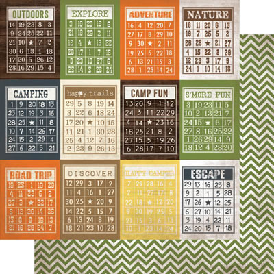 Simple Stories - Take a Hike - Bingo Cards/Chevron 12x12 d/sided cardstock  (pack of 10)